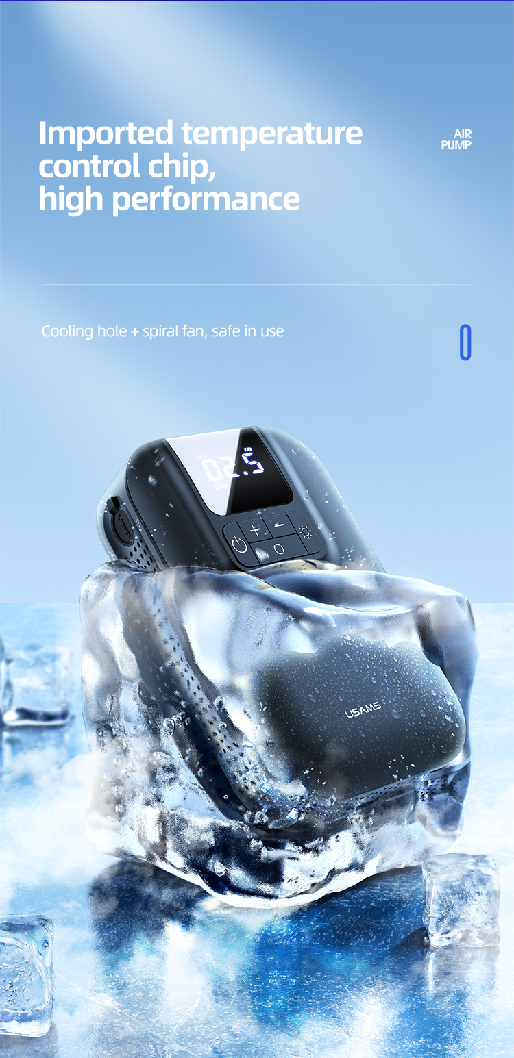 USAMS ZB215 Mini Car Air Pump automatic led digital tyre air compressor pressure detection 5000mAh tire inflator