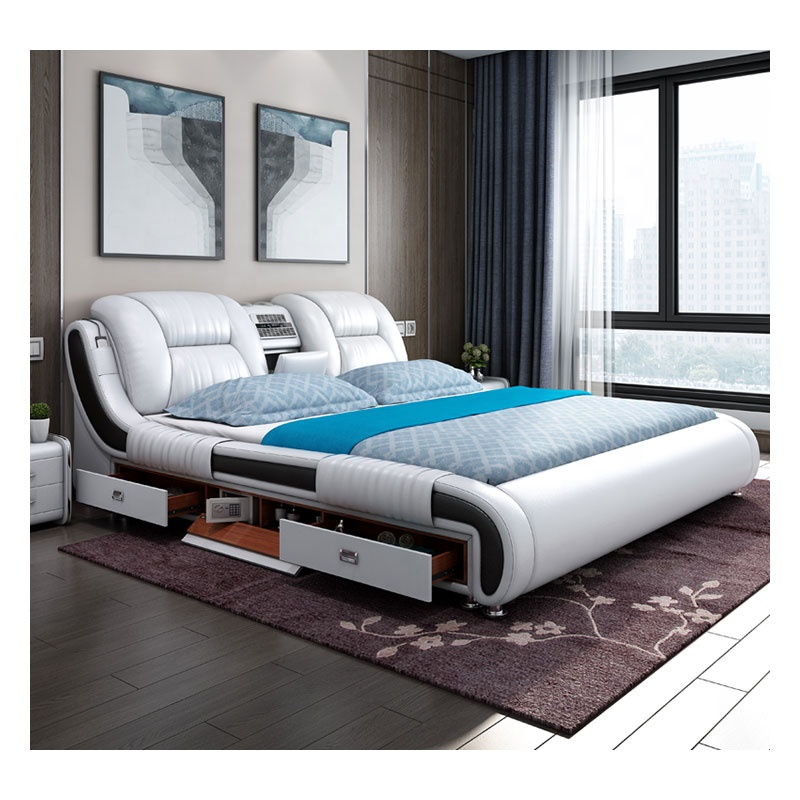 Luxury Bedroom Furniture Custom Multifunction Storage Leather King Size Bed With Massage Music Design Buy Beds Product On Alibaba Com