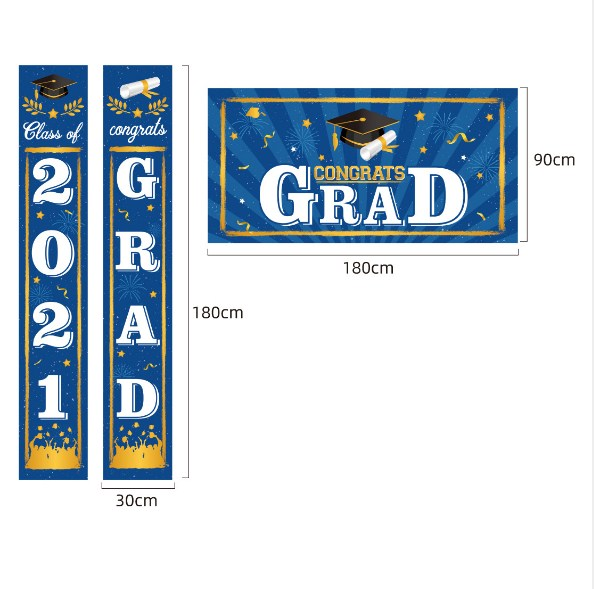 3pcs/set 2021 Graduation Hanging Sign Banner For Wall Door Graduation Party Decorations with Backdrop/Photo