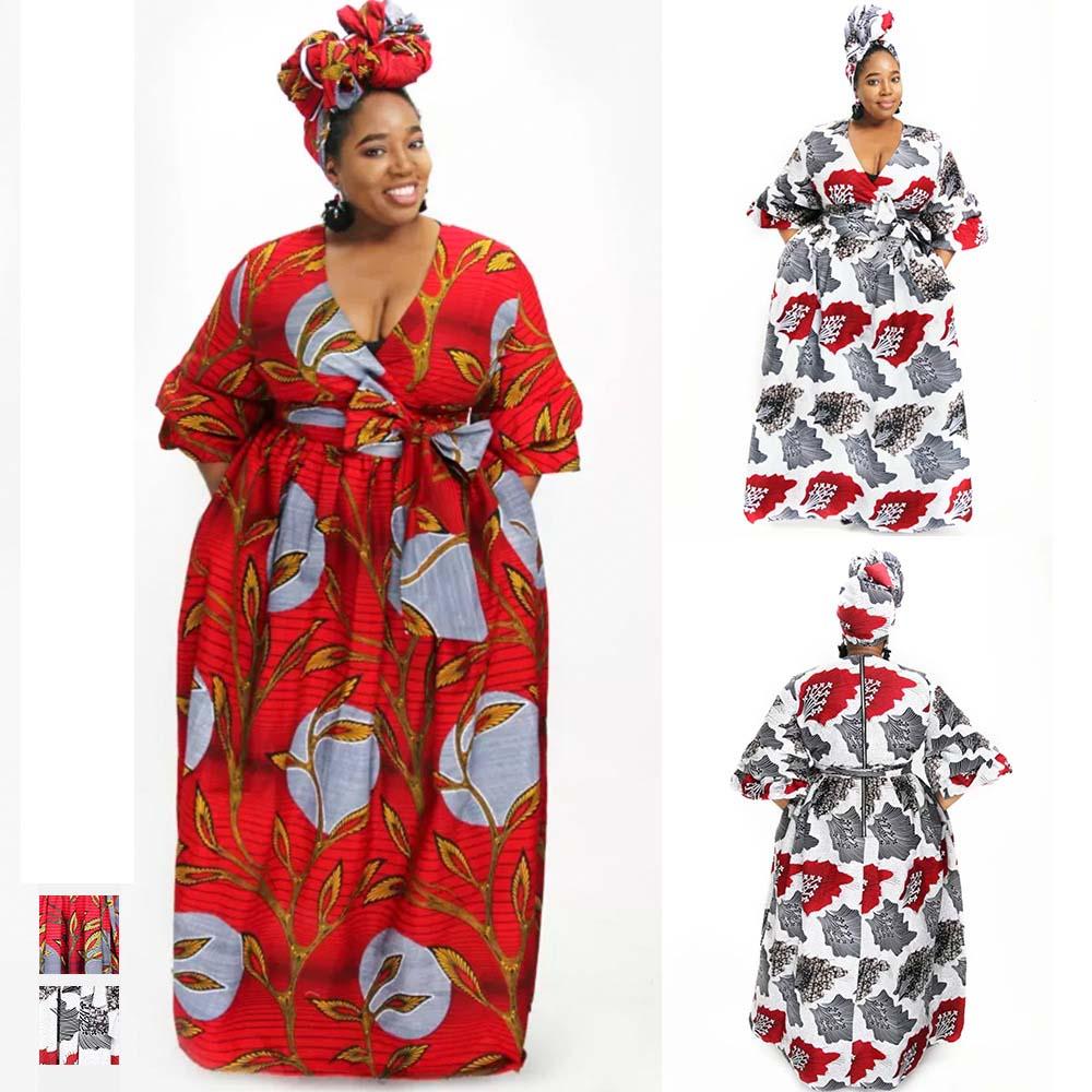 Новинка 2020 года, традиционное пикантное платье с цифровым принтом и V-образным вырезом, африканские женские платья