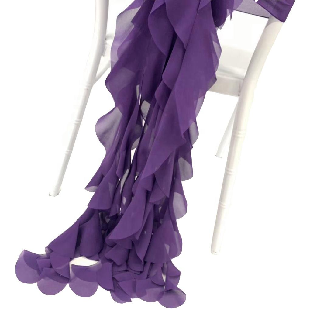 Elegant Curly Willow Chiffon Ruffled Chair Sash for Wedding