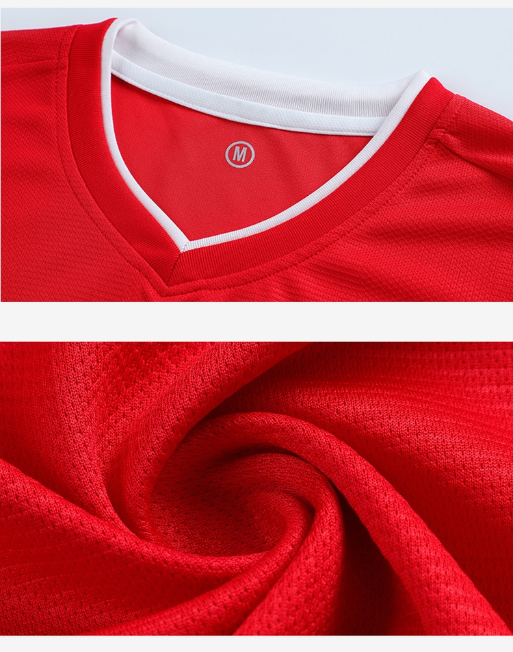 Chinese factory high quality red mens sets uniform soccer jersey set for adult