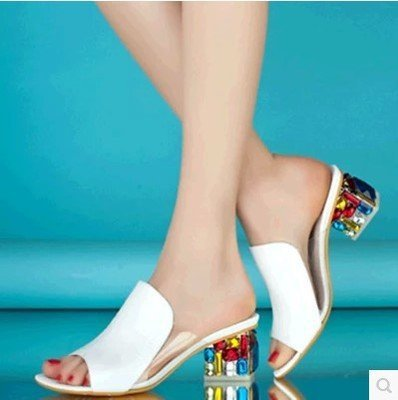 HLS045 thick heel casual slippers mid heel heels women fashion mules shoes