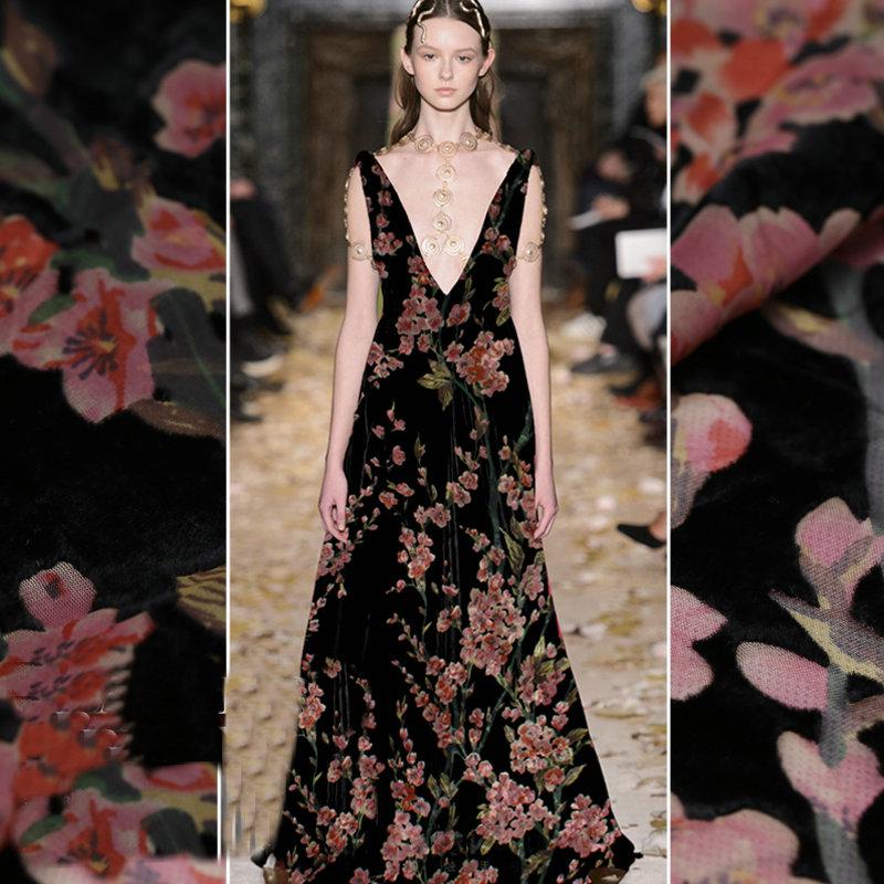 Шёлковая бархатная ткань с цветком сливы, 4 цвета