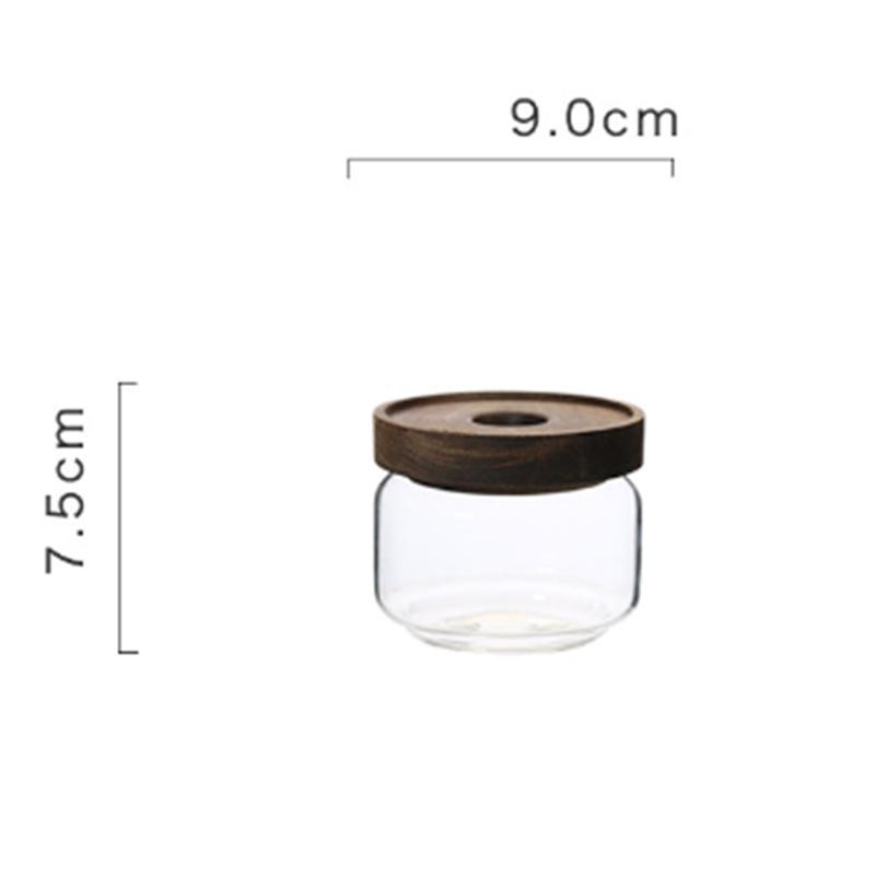 Стеклянная банка для конфет с деревянной крышкой, банки для сахара из боросиликатного прозрачного стекла, емкость для хранения конфет, деко...(Китай)
