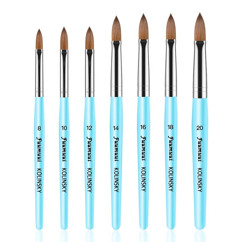 Manche en bois bleu clair pour ongles, brosse à ongles ovales, pour Nail Art, vente en gros, 2021, 50 pièces, nouveau Design 100%