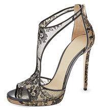 Женские пикантные Босоножки на каблуке; обувь на платформе; летние кружевные туфли для стриптиза на каблуке; большие размеры 42-43; женская об...(Китай)