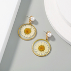 2 Styles Elegant Resin Real Dried Flower drop Pressed Daisy Hoop Pearl Earrings Gold Stud Women Jewelry