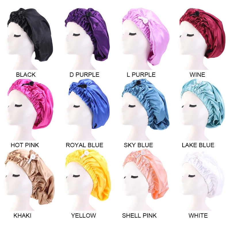 wholesale satin bonnets with logo custom long hair bonnet with button