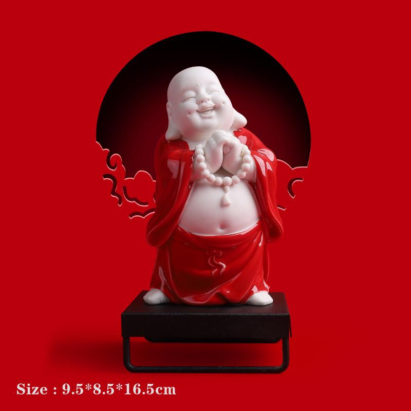 White Marble Small Maitreya Statue Laughing Buddha Ceramic
