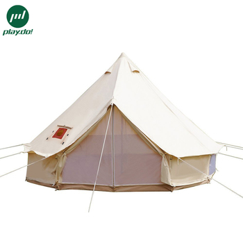 3m 4m 5m 6m 7m Weatherproof Cotton Canvas Custom Logo and Family Tunnel Camping Tent with Chimney Hole