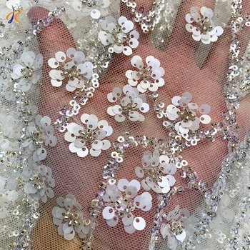 2020 White sequin beaded lace wedding dress fabric French crystal sequin 3D handmade floral tulle fabric