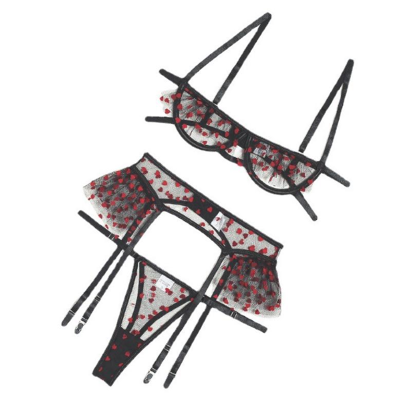 Hot Sales Women Lace See Through Sexy Bra Set G-String Thong Sleepwear Mesh Lingerie Underwear Set Three Piece Sexy Lingerie