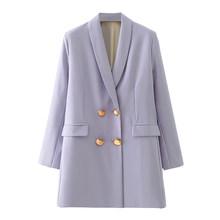 Женский двубортный пиджак DEAT, пиджак свободного покроя с отложным воротником и длинным рукавом, весна-осень 2020, 13T817(Китай)