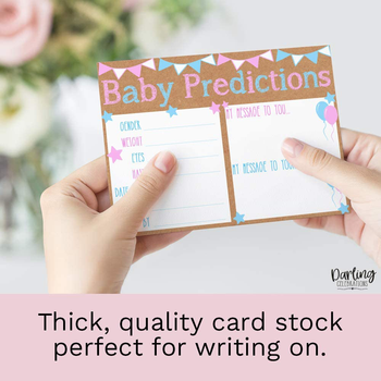 New Arrival Baby Shower Prediction and Advice Card - Diaper Raffle Tickets, Baby Shower Book Request Cards for Invitation