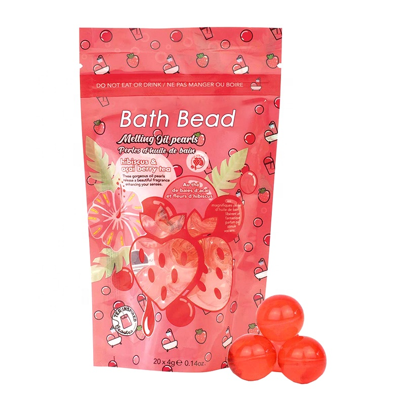 2021 New Product OEM Private Label Small Capsule Transparent Moisturizing Scented Body Bath Oil Round Bath Beads in Bags