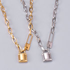 Gold Plated Stainless Steel Thick Necklace Custom Silver Love Lock Necklace Jewelry For Women Bridesmaid Gift