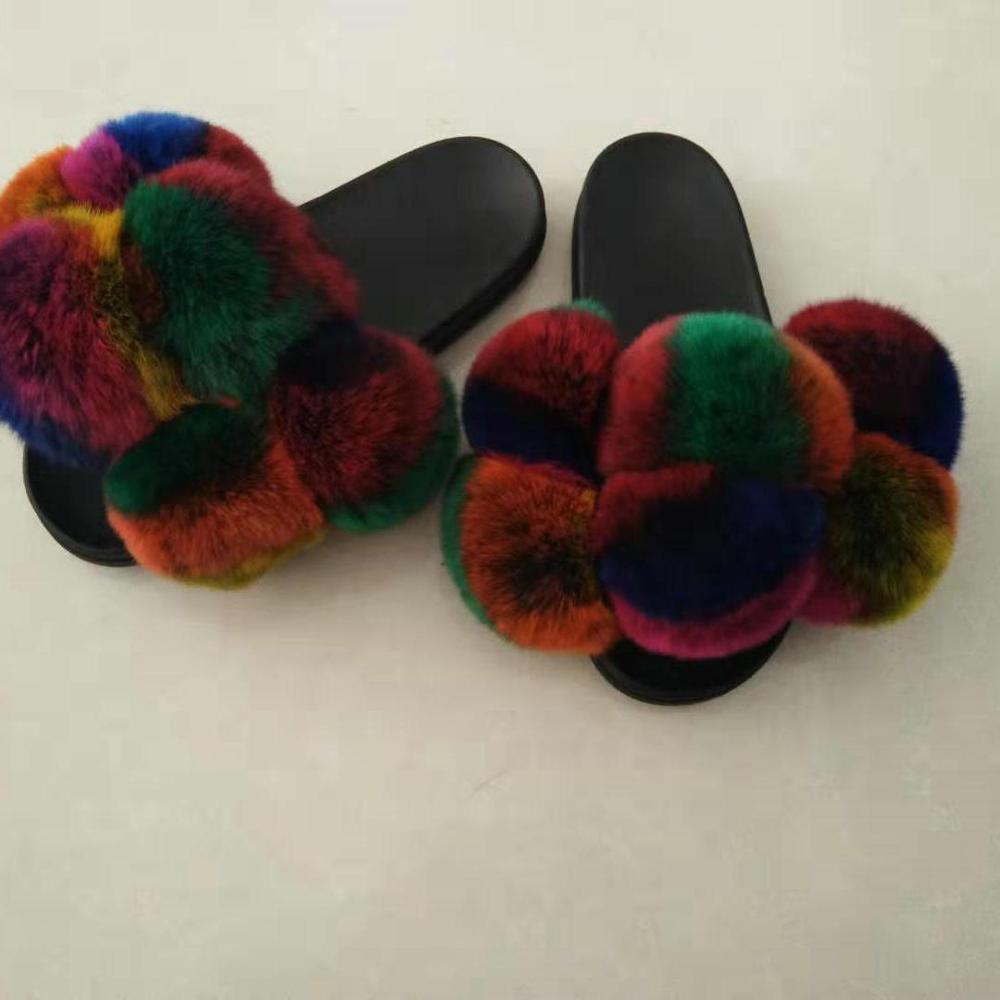 2019 rex rabbit fur  material multicolor fur ball shape fur sandals