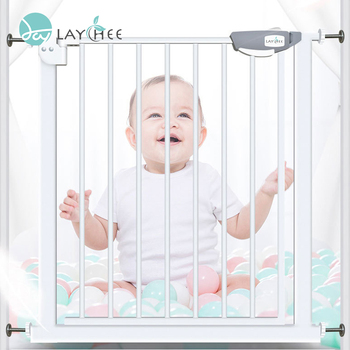 Household Punch-free Retractable Baby Gate Pet Gate, 180 Degrees Open Double Lock Baby Safety Gate//