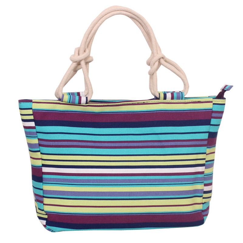Fashion tote bag Hot Selling Wholesale new Design Recyclable printed Colour Striped lady tote shopping bags