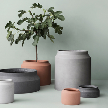 Nordic style garden concrete Large plant pots fiberglass big flower pots cement planter pot for Decoration