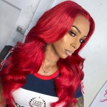 13*4 волнистые человеческие волосы на фронте, красные человеческие волосы, перуанские накладные волосы, блестящие волосы со звездой Remy 150%(Китай)