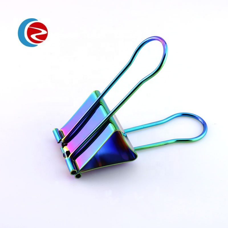 19mm,25mm,32mm size high quality rainbow color metal binder clip in a box