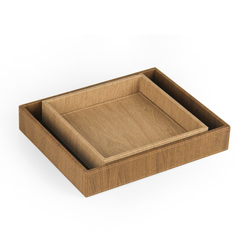 Wholesale square fake cork leather serving tray for desk organizer
