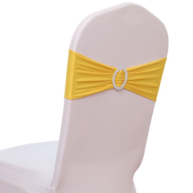 Оптовая продажа, Свадебные Галстуки для стула, браслет для стула с круглой пряжкой для свадебного банкета, украшение из лайкры и спандекса для свадьбы, вечеринки, дома, гостиницы