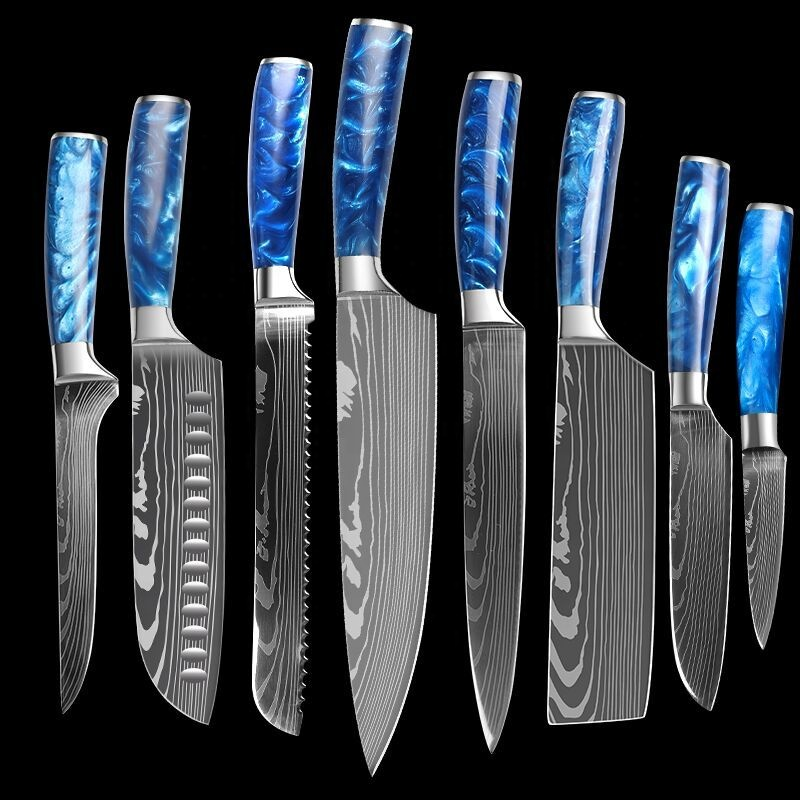 Luxury Knife Set for Kitchen High Quality Stainless Steel Pattern Blade With Blue Epoxy Resin Handle 10pcs Knife Set