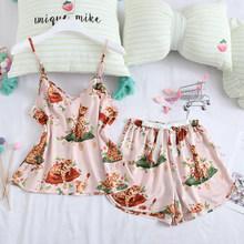 Женские пижамные комплекты JULY'S SONG, с принтом пятен, сексуальные слинги, шорты, милая летняя Домашняя одежда 2020, повседневная одежда для сна с...(Китай)