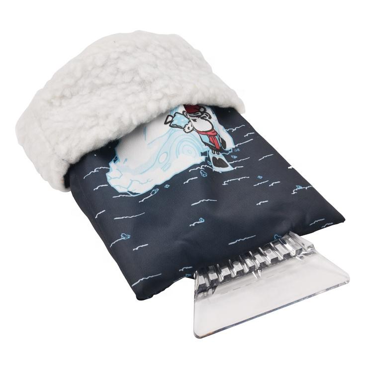 210D Oxford Cloth Custom logo plastic ice scraper with glove windshield snow scrapers ice scraper mitten