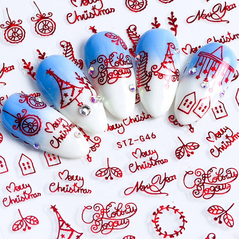 New Year Christmas 3D Nail Sticker Plastic Fashionable Snowflakes Russian Letter Adhesive Slider Nail Art Decorations