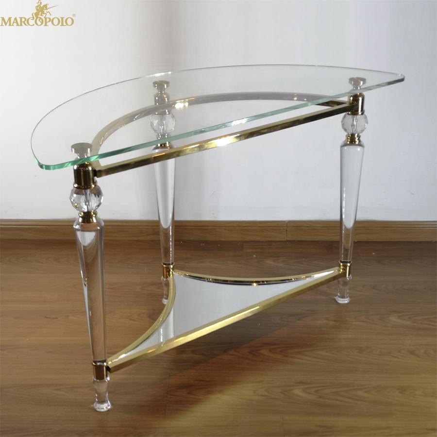 Подгонянное полукруглое прозрачное стекло Акриловый Обеденный Стол