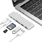 Usb 1 USB 3.1 Type-C HUB TF/SD Card Reader USB-C PD USB C 40Gbps Data 6 In 1 Aluminum Type C Hub Adapter For MacBook