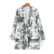 [DEAT] Женский блейзер с галстуком-краской, хит, цвет Za, темперамент, новинка, с отворотом, длинный рукав, свободная куртка, модная, весна-осень ...(Китай)