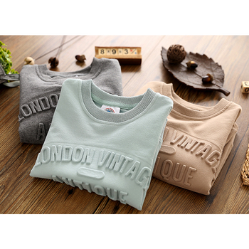 Custom american size oversized pullover mens embossed letter crewneck clothing plus size crew neck sweatshirt embossed 3d