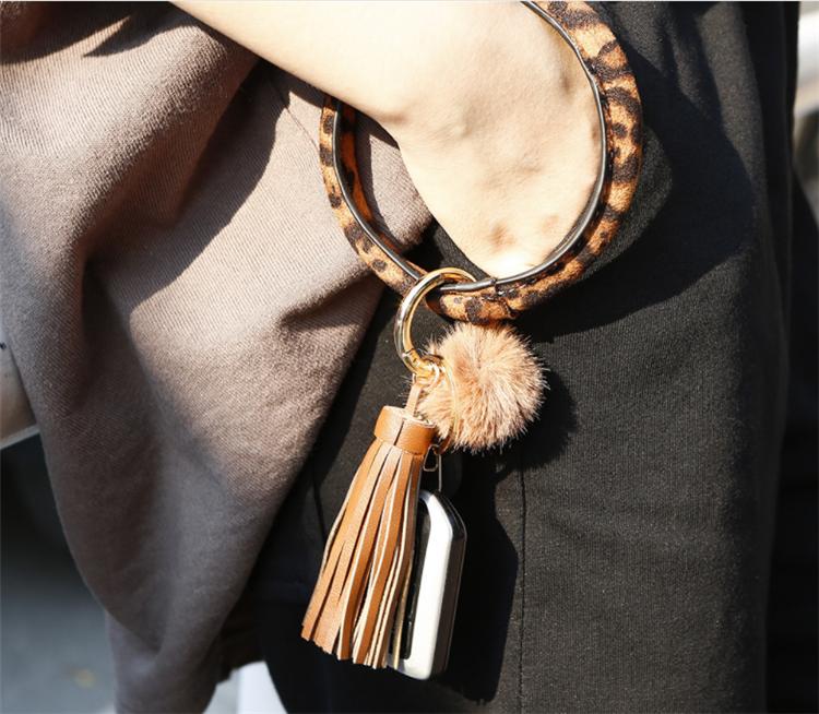 Amazon Hot Key Ring Bracelet Wristlet Keychain Bracelet Bangle Leather Circle Tassel Pom Pom Keyring Holder Bag Charms,TOYS0064