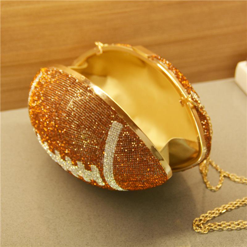 Популярный Алмазный клатч в форме футбольного мяча, сумка через плечо, Уникальный индивидуальный кошелек для футбола, клатч со стразами, кошелек