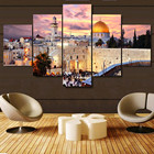 Art Sunset Wall Art Home Decoration Jerusalem Sunset Landscape Islam Building 5 Puece Painting Wall Art Islamic
