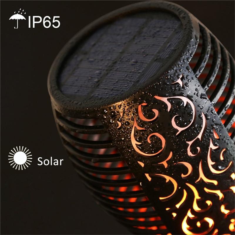 96 leds outdoor patio dancing decorative flames solar garden flickering solar torch lights