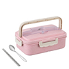 Pink box and stainless steel spoon , chopsticks