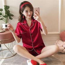 Пижама из искусственного шелка, летняя Пижама с коротким рукавом, шорты, ночная рубашка, M-5XL, большой размер, 2020(Китай)