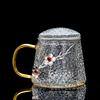 GlGlass Lid Tea Cup-Two Plum Blossoms