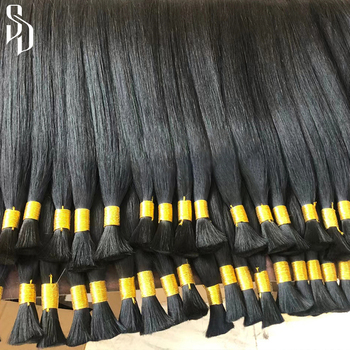 Factory Wholesale Natural Virgin 100% Human Hair Extension Cuticle Aligned Remy Hair Bulk for Braiding