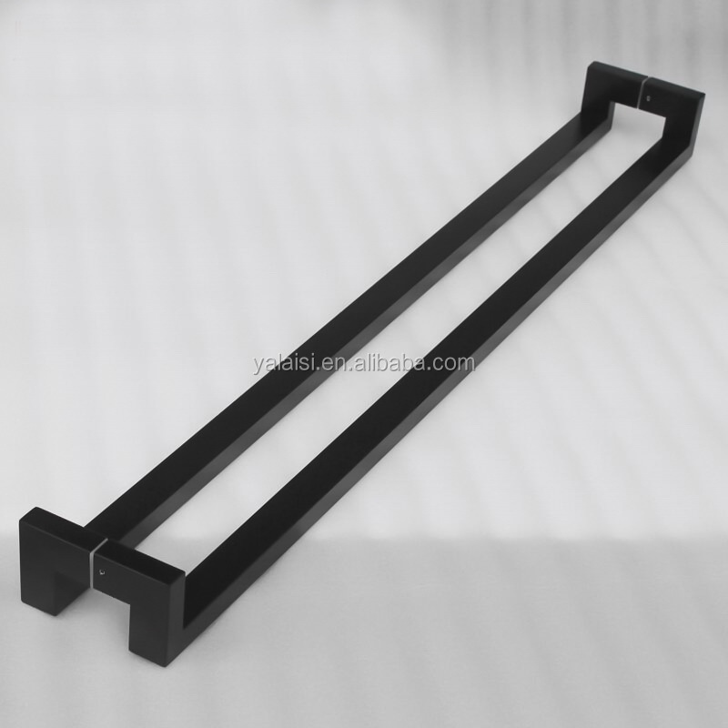 Matt black or Brushed stainless steel back to back offset pull handles (pair) for entry doors sliding doors and aluminium door