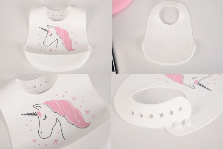 Hot Sale Hudson Baby Printed Waterproof Silicone Baby Bib with Catcher