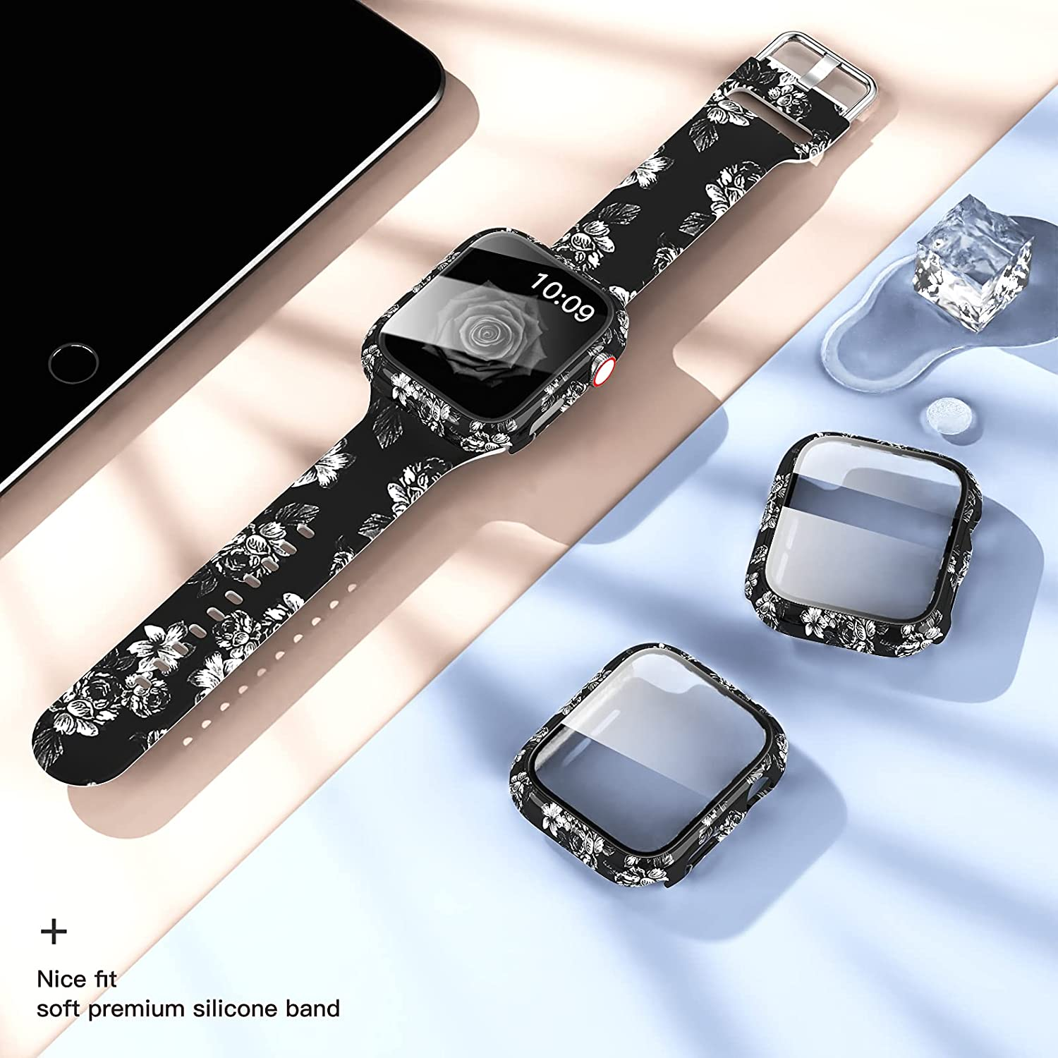 44Mm 40Mm 42Mm 38Mm  Bands+Case For Apple Watch Band With Screen Protector Cover Glass+Silicon Wristband Strap for iwatch 654321