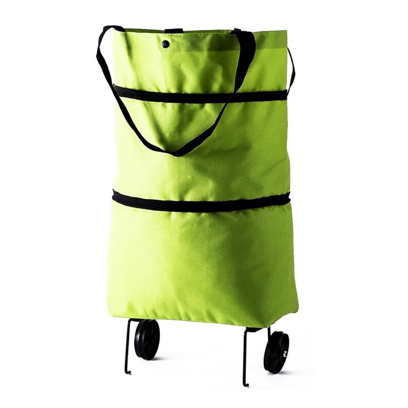 Складная Двухступенчатая многоразовая складная тележка для покупок на молнии, тележка, продуктовые сумки с колесами, складная