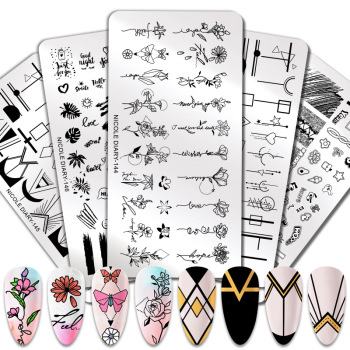 2021 Professional Flower Custom Stainless Steel Stamp Plate Tool Image Kit Template Oem Polish Nail Art Stamping Plates